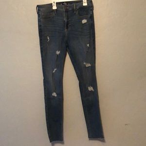 A pair of semi ripped jeans from Hollister